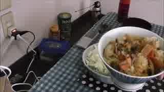 鶏の炊き込みご飯とサラダ温麺(うーめん)