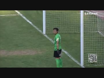 During the Chinese football free-kick the goalkeeper was still drinking water.