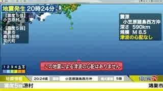 小笠原諸島西方沖 地震発生時のSOLiVE24