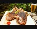 巨大鳥のチキンステーキ炭火焼きを作るよ!【野外料理】