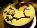 鳥の絵書いたケーキ