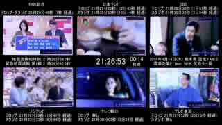 震度7 熊本県 NHKと民放キー局 6画面マル