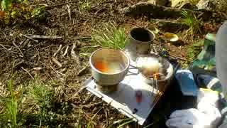 MTB&ソロキャンプ(テント無し)  その2:朝食、デポ地へ下る