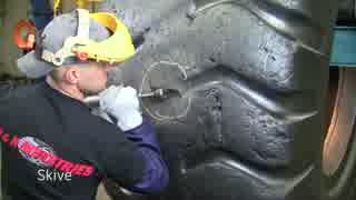 【工場動画】1本300万円の巨大タイヤの修理工程