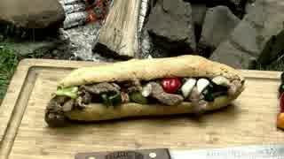 チリペッパーリブステーキサブマリンサンドイッチ