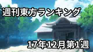 週刊東方ランキング 17年12月第1週