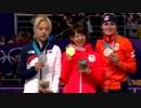 スピードスケート女子マススタート表彰式「君が代」金メダル 高木菜那選手