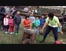 【農業公園 信貴山のどか村】のどか村感謝祭で高速餅つきを見て、おもちをふるまってもらい、餅つきをするあい❤お出かけ イベント mochi pounding!