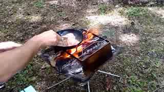 【野外飯】焚火でステーキ