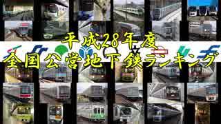 H28 全国公営地下鉄利用客数・経常収支ラ