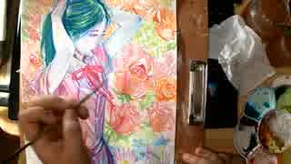 【アナログ水彩メイキング】~花と蝶々を描く~