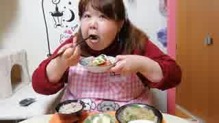 【デブエット】豚肉と白菜と春雨のピリ辛煮&わか卵スープを食べる!□