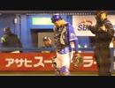 伊藤光捕手にバレンティン選手のバットが直撃