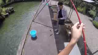 【マス釣り堀】現地の200円の高級釣り竿では確実に釣れます!