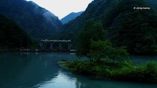 日の出から 西山ダム 2019 空撮 山梨県南巨摩郡早川町奈良田