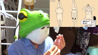 蛙が「鳥獣戯画ジム」ガチャポンで演奏し