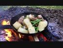 豚バラ肉とニンニクの芽と旬のジャガイモ炒めの野外料理 No.13