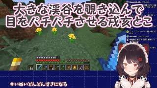 【Minecraft】大きな渓谷を覗き込んで目をパチパチさせる戌亥とこ【にじさんじ】