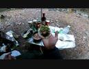 ソロキャンプ 網焼き餃子とハンバーグ①