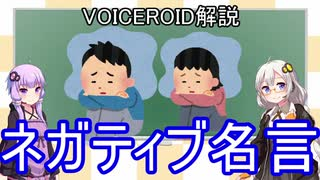 【VOICEROID解説】ボイロで学ぶネガティブ