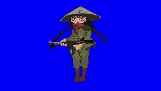 銃を撃つ緑のお茶姉貴
