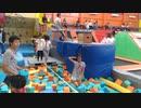トランポリンパーク:オレンジエリアで遊ぶあい❤クッションプール渡り 綱渡り ボルダリング⁉
