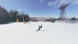 2020.2.19 ポールボード/北志賀竜王スキーパーク にて~Ver2・・・insta360 oneで追い撮り撮影。ポールボードの微妙なバランスラインをご覧ください・