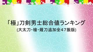 「極」刀剣男士総合値ランキング(大太刀・槍・薙刀追加全47振版)