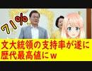 【韓国の反応】文大統領の支持率が遂に71%を記録し、就任4年目に入った歴代大統領の中で最高値を記録!【世界の〇〇にゅーす】