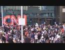 暴動のとばっちりを受けるCNN【投石】
