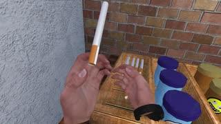 このVRゲームの煙草の挙動が気持ち悪すぎる。
