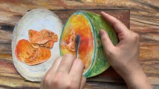 【コマ撮り】赤肉メロンを描いて食べる