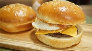 【パン作り】チーズ月見バーガーをバンズ