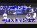 プロゴルファー 金田久美子さんの始球式で ドアラさん 頭部死球をうける