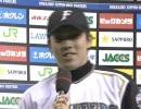 多田野、2009年初勝利ヒーローインタビュー.4/7