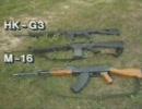 アサルトライフル HK-G3 M-16 AK-47 射撃シーン